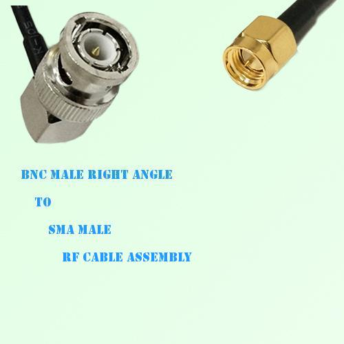 BNC Male Right Angle to SMA Male RF Cable Assembly