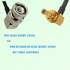 BNC Male R/A to SMB Bulkhead Male R/A RF Cable Assembly