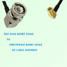 BNC Male Right Angle to SMB Female Right Angle RF Cable Assembly