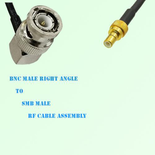 BNC Male Right Angle to SMB Male RF Cable Assembly