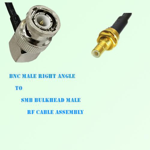 BNC Male Right Angle to SMB Bulkhead Male RF Cable Assembly