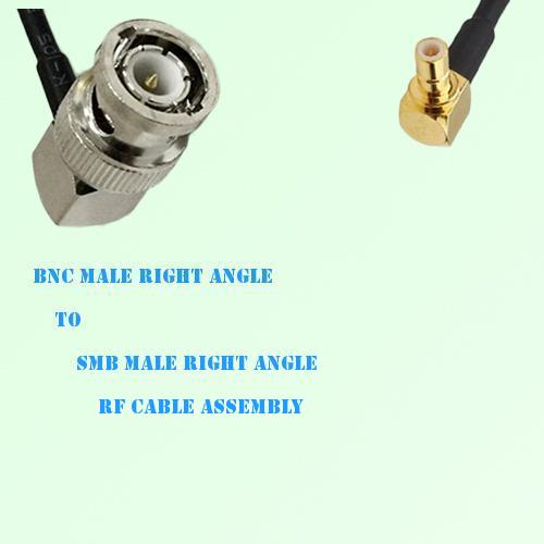 BNC Male Right Angle to SMB Male Right Angle RF Cable Assembly