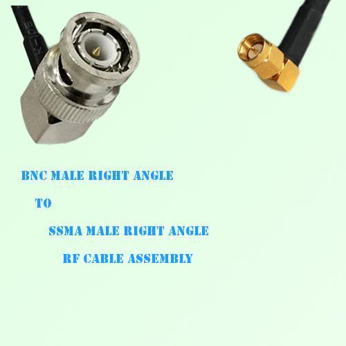 BNC Male Right Angle to SSMA Male Right Angle RF Cable Assembly