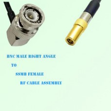 BNC Male Right Angle to SSMB Female RF Cable Assembly