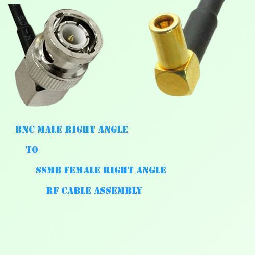 BNC Male Right Angle to SSMB Female Right Angle RF Cable Assembly