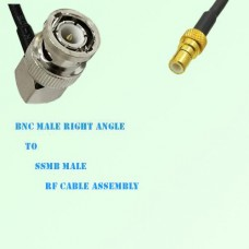BNC Male Right Angle to SSMB Male RF Cable Assembly
