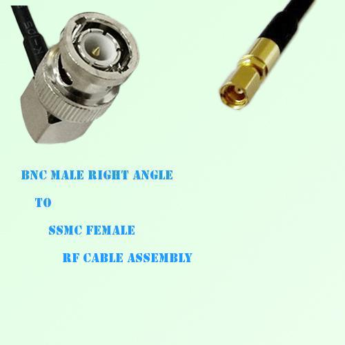 BNC Male Right Angle to SSMC Female RF Cable Assembly