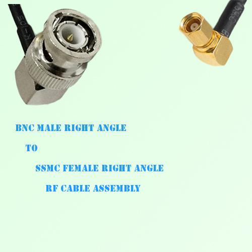 BNC Male Right Angle to SSMC Female Right Angle RF Cable Assembly