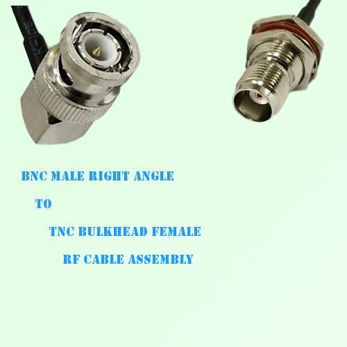 BNC Male Right Angle to TNC Bulkhead Female RF Cable Assembly