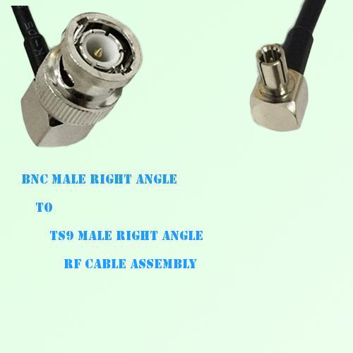 BNC Male Right Angle to TS9 Male Right Angle RF Cable Assembly