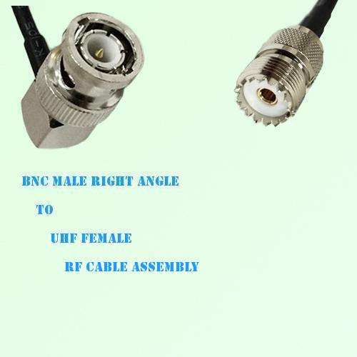 BNC Male Right Angle to UHF Female RF Cable Assembly