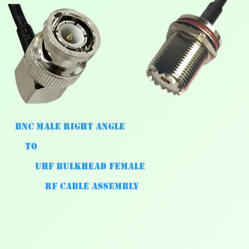 BNC Male Right Angle to UHF Bulkhead Female RF Cable Assembly