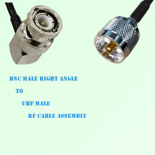 BNC Male Right Angle to UHF Male RF Cable Assembly