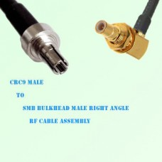 CRC9 Male to SMB Bulkhead Male Right Angle RF Cable Assembly