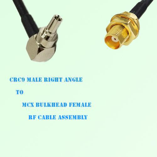 CRC9 Male Right Angle to MCX Bulkhead Female RF Cable Assembly