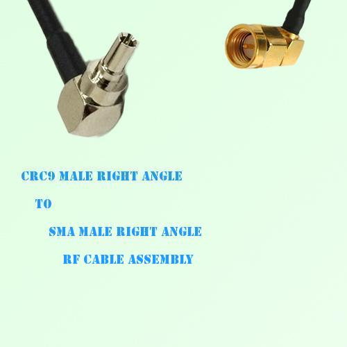CRC9 Male Right Angle to SMA Male Right Angle RF Cable Assembly