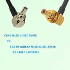 CRC9 Male R/A to SMB Bulkhead Male R/A RF Cable Assembly