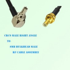 CRC9 Male Right Angle to SMB Bulkhead Male RF Cable Assembly