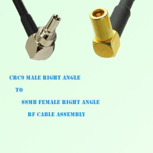 CRC9 Male Right Angle to SSMB Female Right Angle RF Cable Assembly