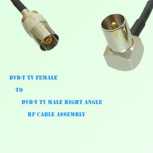 DVB-T TV Female to DVB-T TV Male Right Angle RF Cable Assembly
