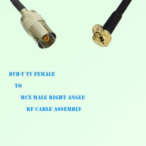 DVB-T TV Female to MCX Male Right Angle RF Cable Assembly