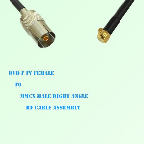 DVB-T TV Female to MMCX Male Right Angle RF Cable Assembly