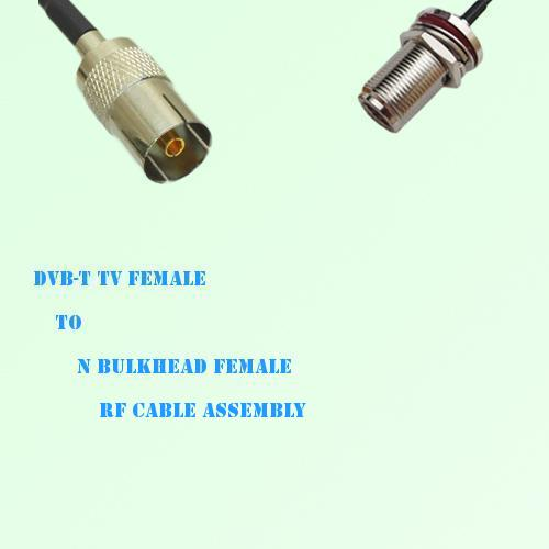 DVB-T TV Female to N Bulkhead Female RF Cable Assembly