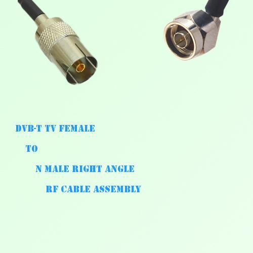 DVB-T TV Female to N Male Right Angle RF Cable Assembly