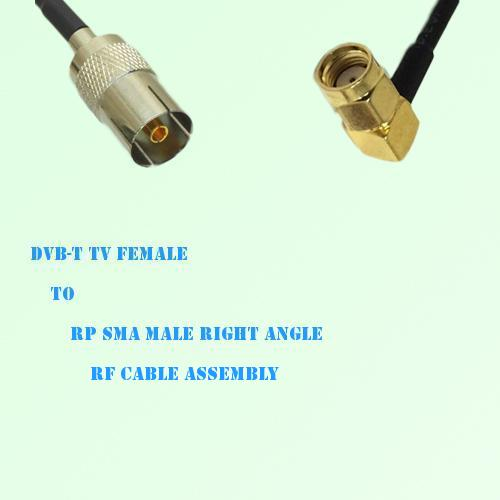 DVB-T TV Female to RP SMA Male Right Angle RF Cable Assembly