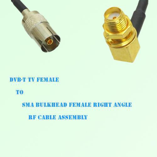 DVB-T TV Female to SMA Bulkhead Female Right Angle RF Cable Assembly