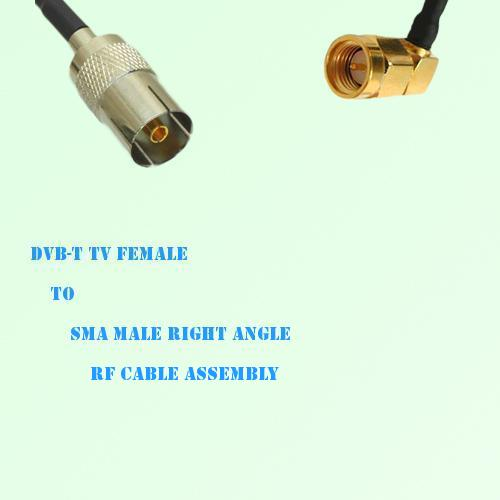 DVB-T TV Female to SMA Male Right Angle RF Cable Assembly