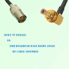 DVB-T TV Female to SMB Bulkhead Male Right Angle RF Cable Assembly