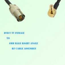 DVB-T TV Female to SMB Male Right Angle RF Cable Assembly