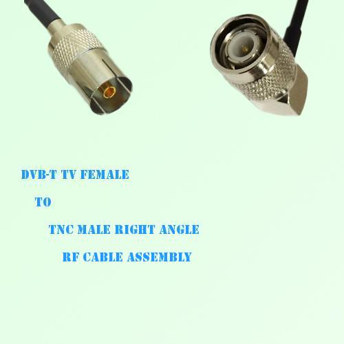 DVB-T TV Female to TNC Male Right Angle RF Cable Assembly