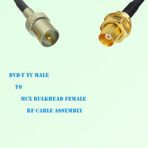 DVB-T TV Male to MCX Bulkhead Female RF Cable Assembly