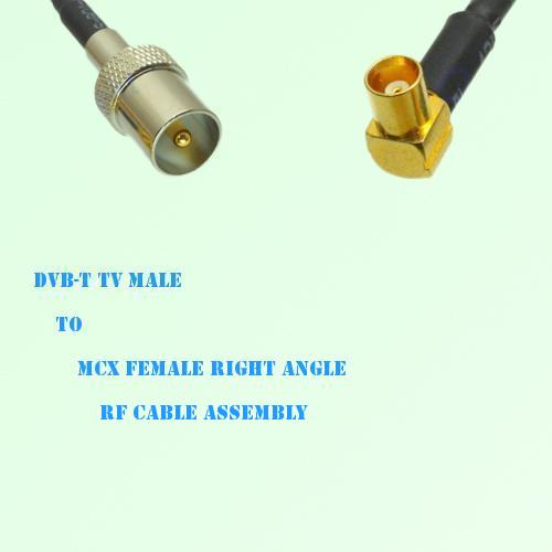 DVB-T TV Male to MCX Female Right Angle RF Cable Assembly