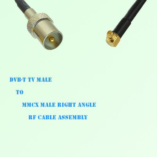 DVB-T TV Male to MMCX Male Right Angle RF Cable Assembly