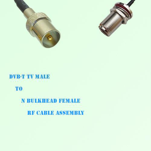 DVB-T TV Male to N Bulkhead Female RF Cable Assembly