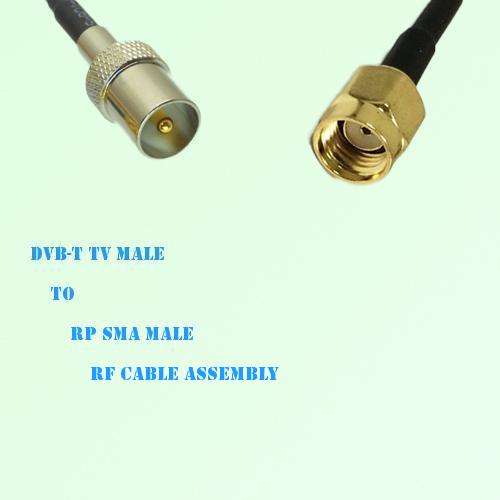 DVB-T TV Male to RP SMA Male RF Cable Assembly