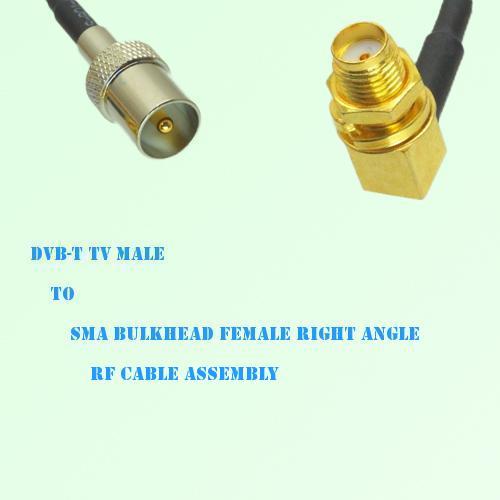 DVB-T TV Male to SMA Bulkhead Female Right Angle RF Cable Assembly