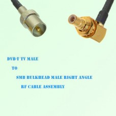 DVB-T TV Male to SMB Bulkhead Male Right Angle RF Cable Assembly