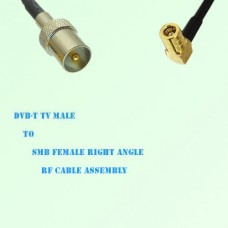 DVB-T TV Male to SMB Female Right Angle RF Cable Assembly