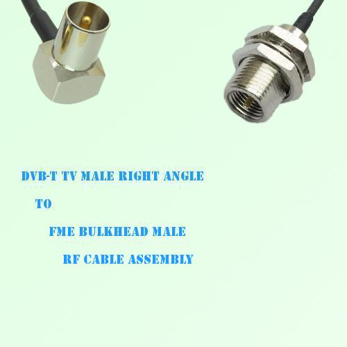 DVB-T TV Male Right Angle to FME Bulkhead Male RF Cable Assembly