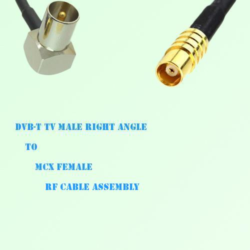 DVB-T TV Male Right Angle to MCX Female RF Cable Assembly
