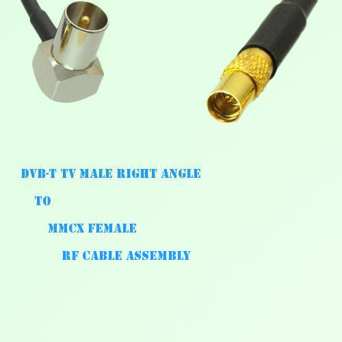 DVB-T TV Male Right Angle to MMCX Female RF Cable Assembly