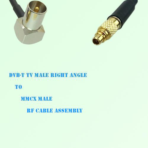 DVB-T TV Male Right Angle to MMCX Male RF Cable Assembly