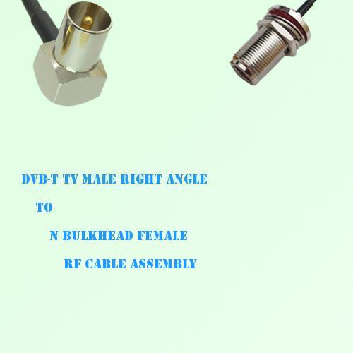 DVB-T TV Male Right Angle to N Bulkhead Female RF Cable Assembly
