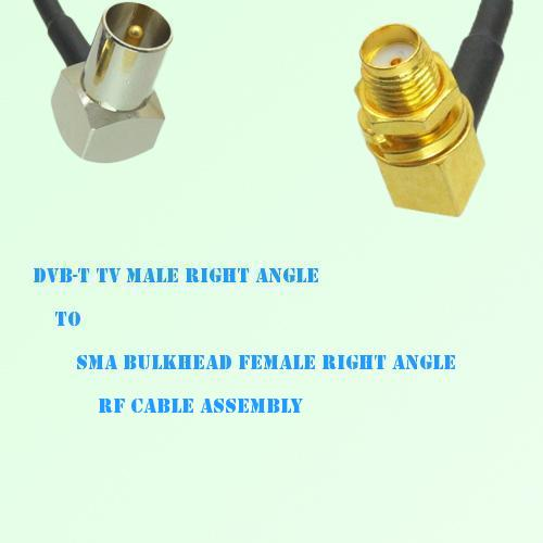 DVB-T TV Male R/A to SMA Bulkhead Female R/A RF Cable Assembly