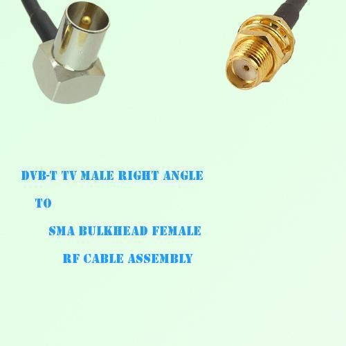 DVB-T TV Male Right Angle to SMA Bulkhead Female RF Cable Assembly