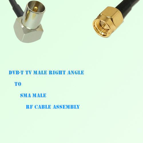 DVB-T TV Male Right Angle to SMA Male RF Cable Assembly